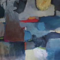 """""""Composition 211 blues"""" 70x90cm, oil on canvas, 2021 (Price: 1.100 EUR)"""
