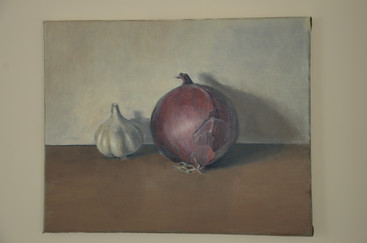 Oinons and Garlic, 40x50cm, Oil on Canvas, 2015