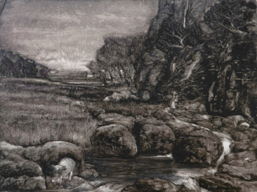 """""""Sheep at the river"""", 30x40 cm, oil on board, 2016 (Price: 500 EUR)"""