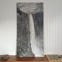 """Larger view of """"The waterfall with deer"""""""
