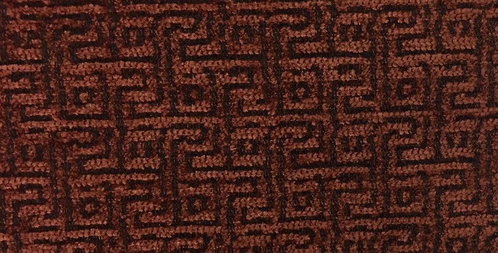 Rust Greek Key Fabric - Textured Fabric