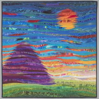 """mountain and sun--quilted landscape--40x40""""--home decor"""