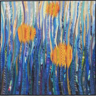 """Dancing in the moonlight--original textile art. Modern wall art. 40x40"""""""