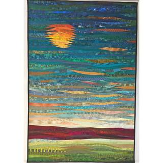 Distant moon--an original art quilt.
