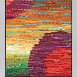 two suns--abstract wall art, quilt, ann brauer