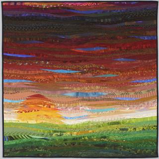 autumn sunset--a square landscape quilt