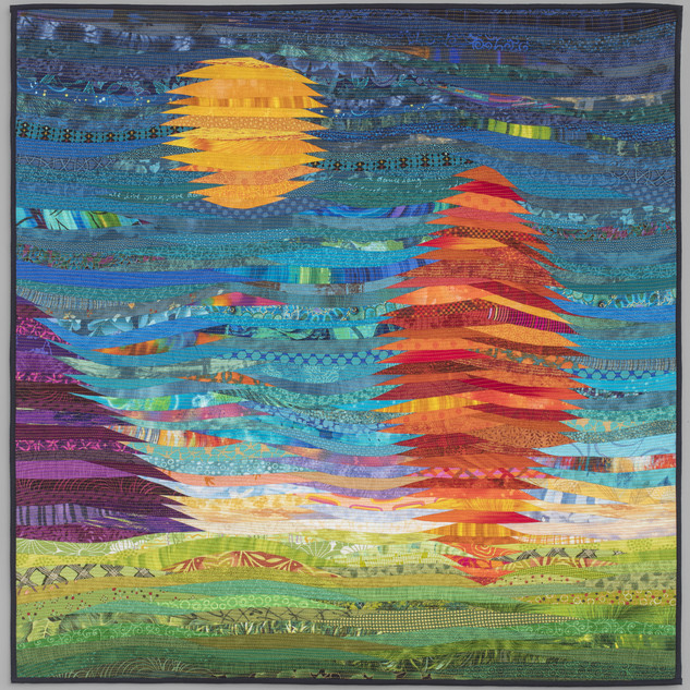 Mountain, tree and sun--abstract quilt. Square wall art.
