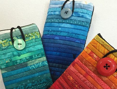 Quilted sunglass case. Small phone case.