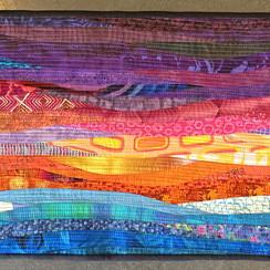 """morning sun--quilt--13x40"""". Abstract wall art."""