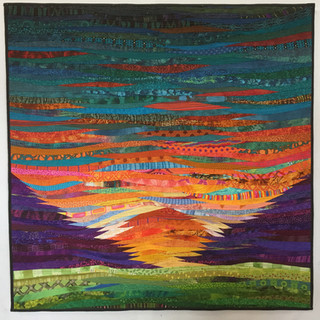 """Mountain sunrise--original modern quilt. 40x40"""". Contemporary wall art."""