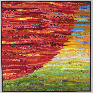 Red sun--40x40 inches. Modern quilt. $1800.