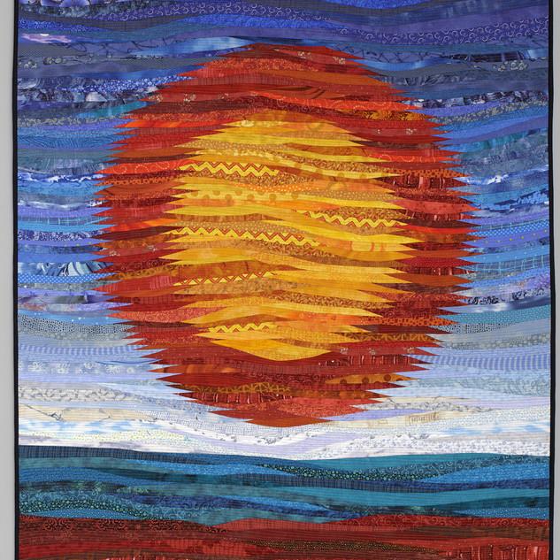 """Prairie sun--quilted art. 40x55"""". Large fiber art quilt."""