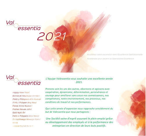 L'équipe Valessentia vous adresse ses meilleurs voeux pour 2021