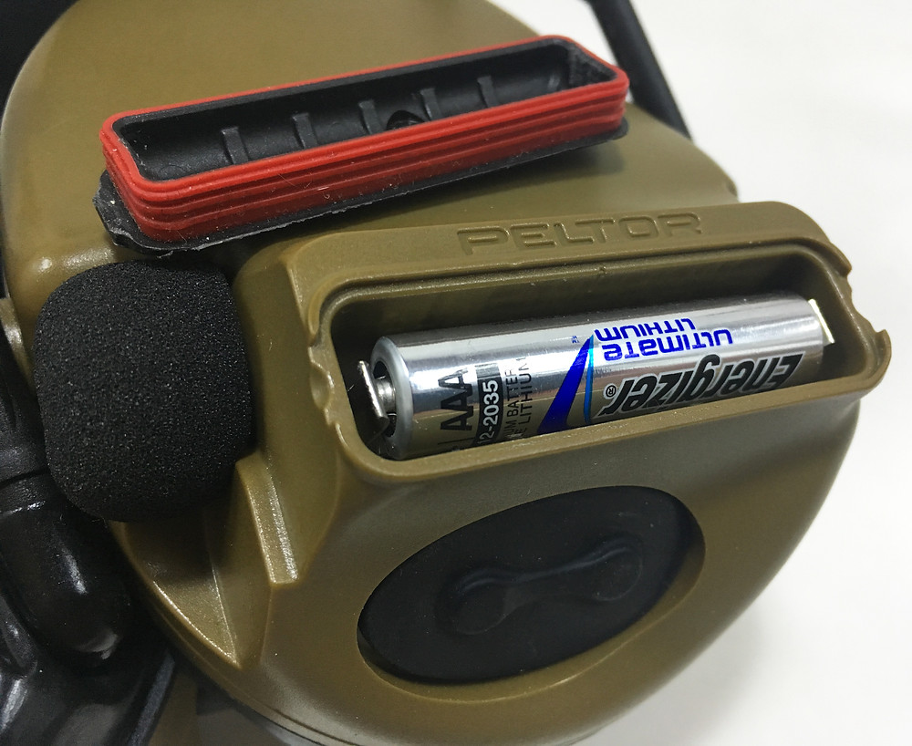 Peltor ComTac III battery compartment