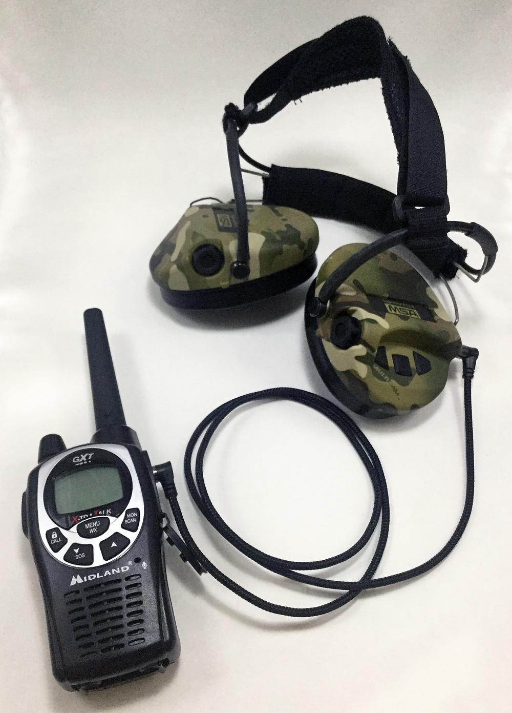 MSA Sordin headset with Midland GXT 1000 radio