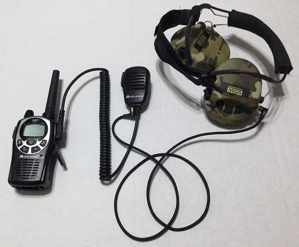 MSA Sordin headset with Midland GXT 1000 radio and Midland PTT