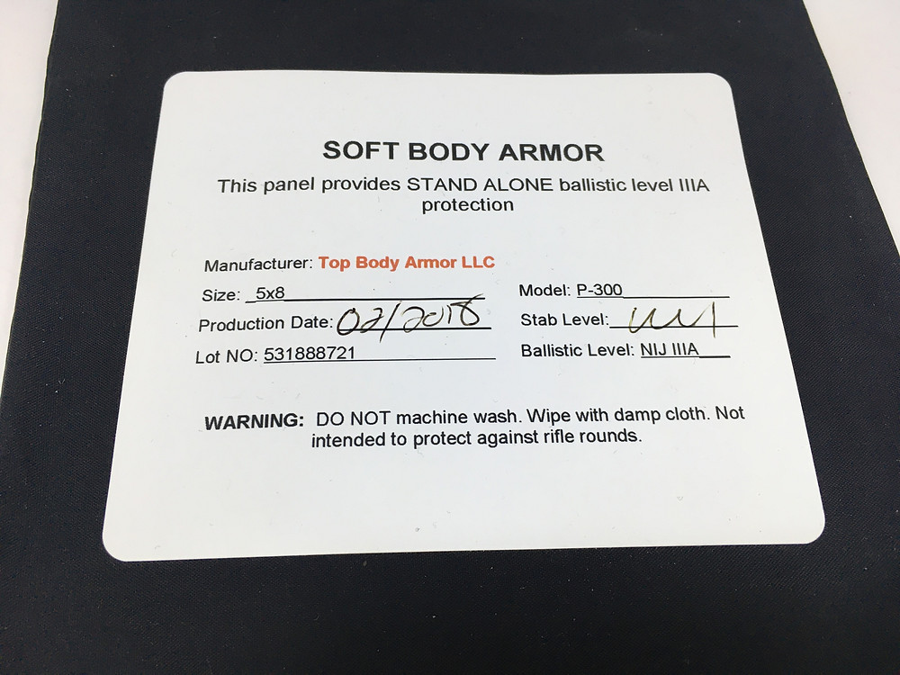 Top Body Armor IIIA insert label
