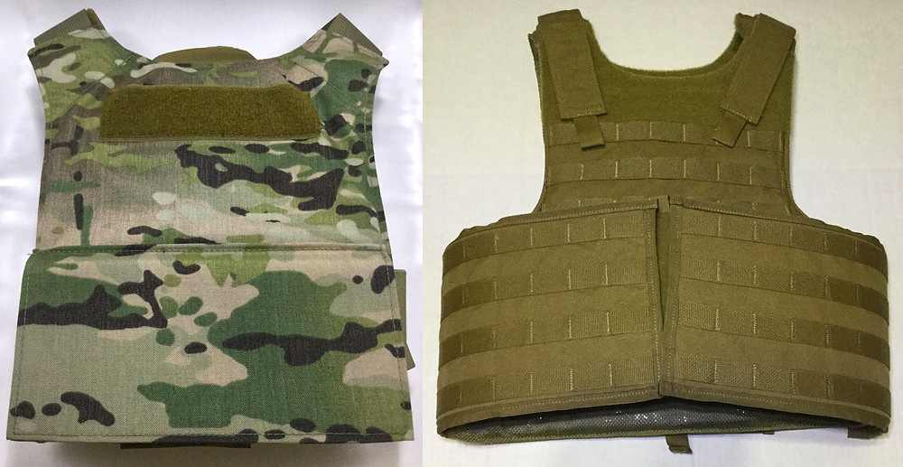 Beez Combat Extreme Concealable Plate Carrier in Multicam and IIIA soft armor carrier with MOLLE in Coyote Brown