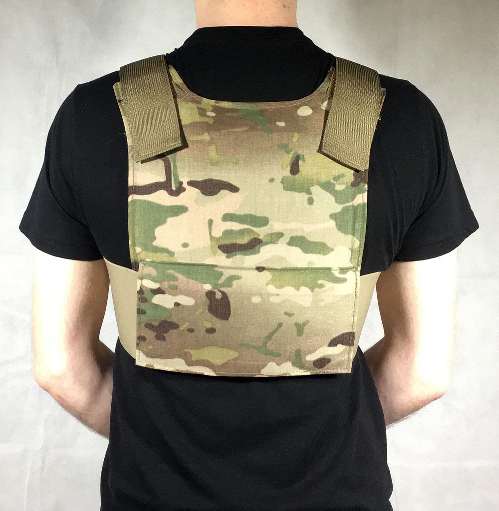 Concealable plate carrier with plates.