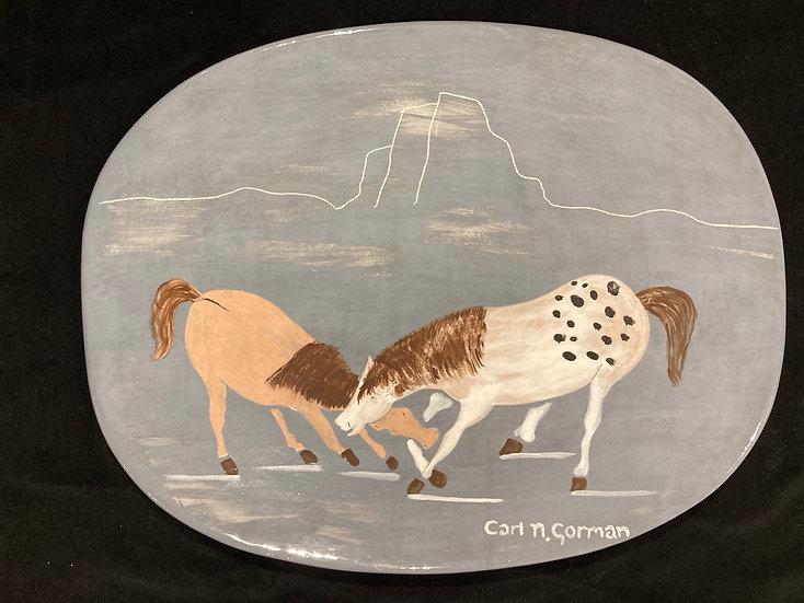 Two Horses Fighting | Carl N. Gorman
