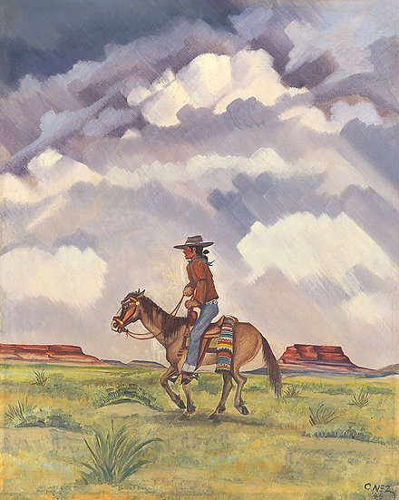 """Navajo Rider"", 1949, Prints | by Chester Nez"