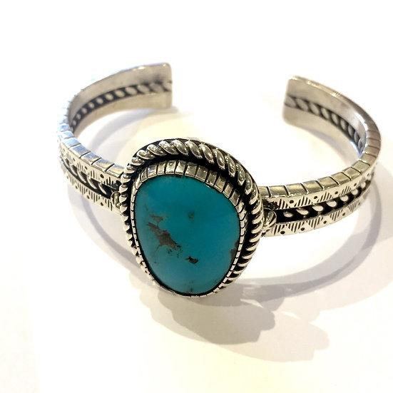 Navajo Silver & Turquoise Bracelet | by Michael Nez