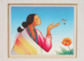 """Chinle Ruby Throated Hummingbird"" by R.C. Gorman is a multicolored lithograph. It depicts a Navajo woman dressed in velvet, turquose and a Navajo Blanket standing next to a tulip with her hand outstretched to a hummingbird."