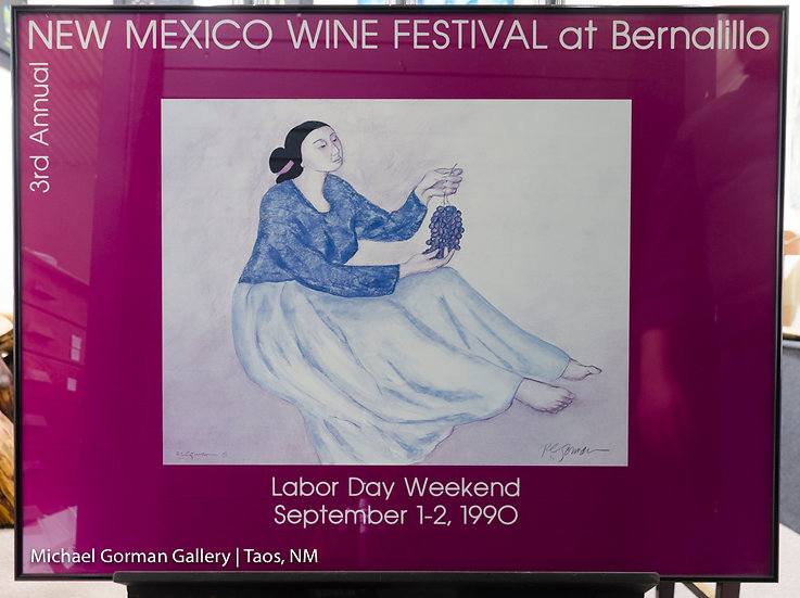 Woman with Grapes Signed 1990 POSTER by R.C. Gorman