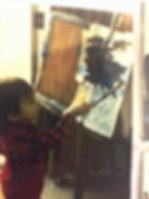 Photo of Michael Gorman painting circa 1986. Photo courtesy of Gorman Family
