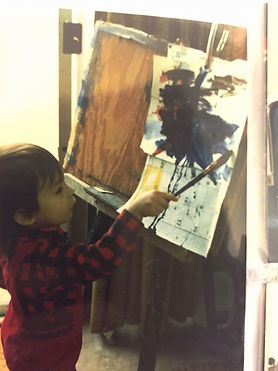 Photo of Michael Gorman painting circa 1986. Photo courtesy of Gorman Family