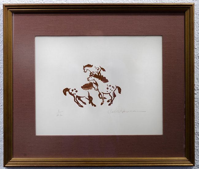 Three Horses, Lithograph | by Carl N. Gorman