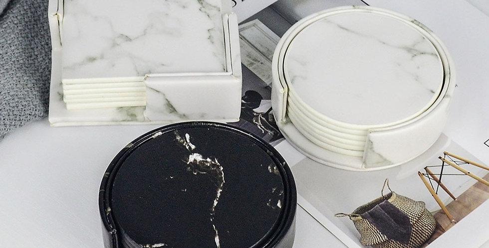 EbonyCoverings   PU Leather Marble Coaster 6PCS