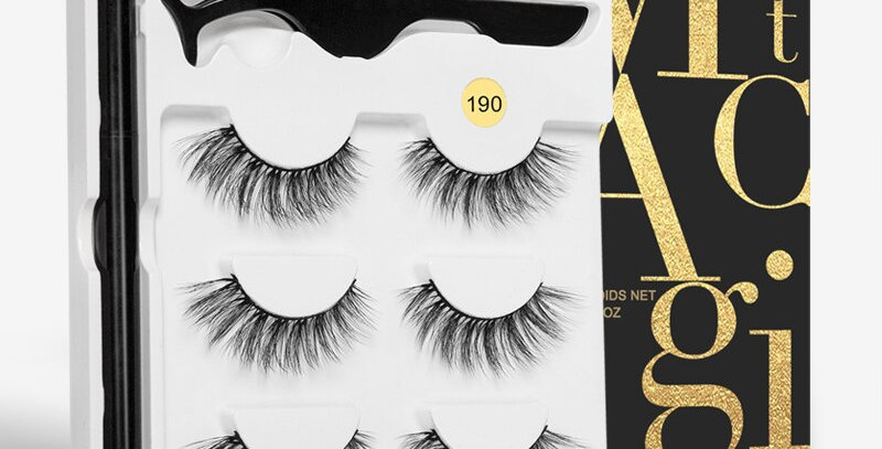 3 Pairs Magnetic Eyelashes  with Liner and Tweezer Set