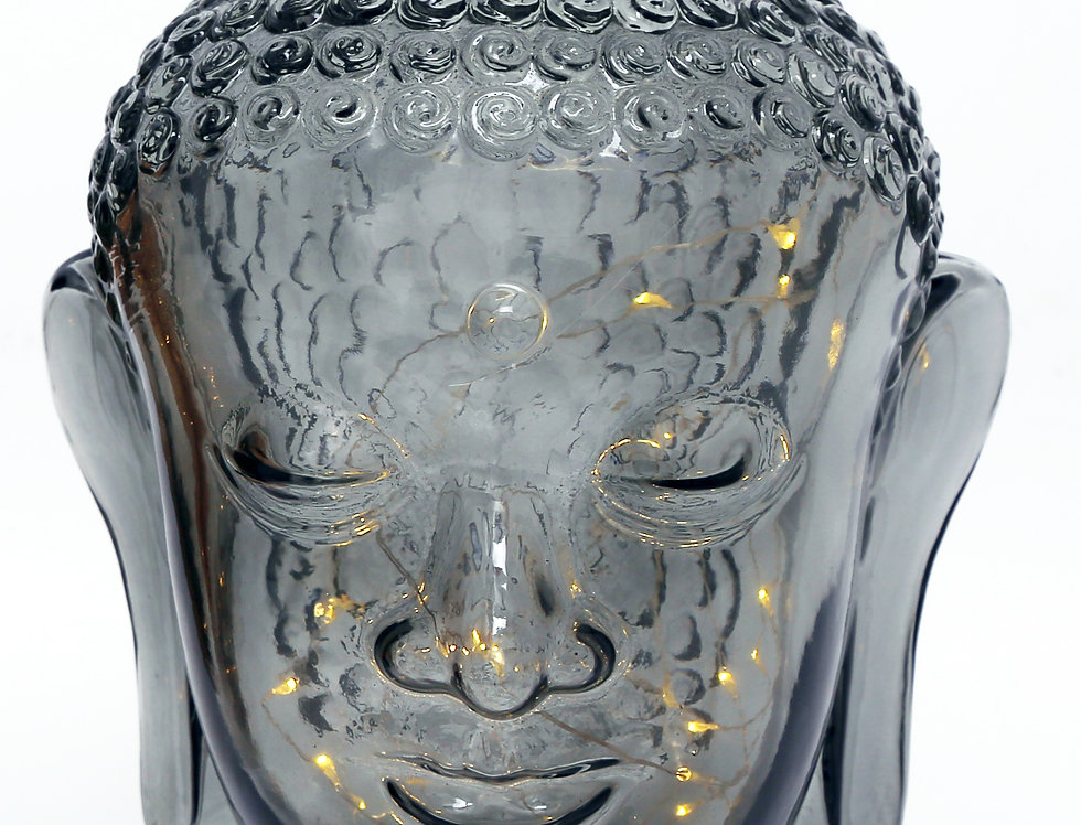 Buddha Head Ornament with LED Silver