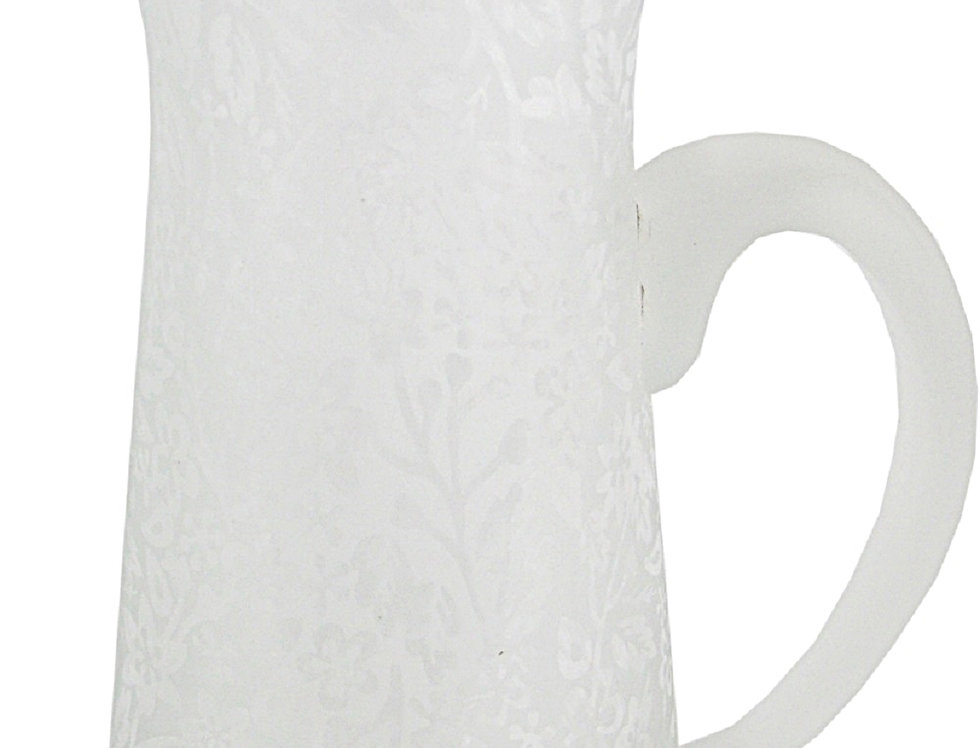Flower Etched Glass Jug