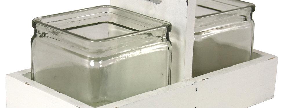2 Jars In Wooden Holder Cream
