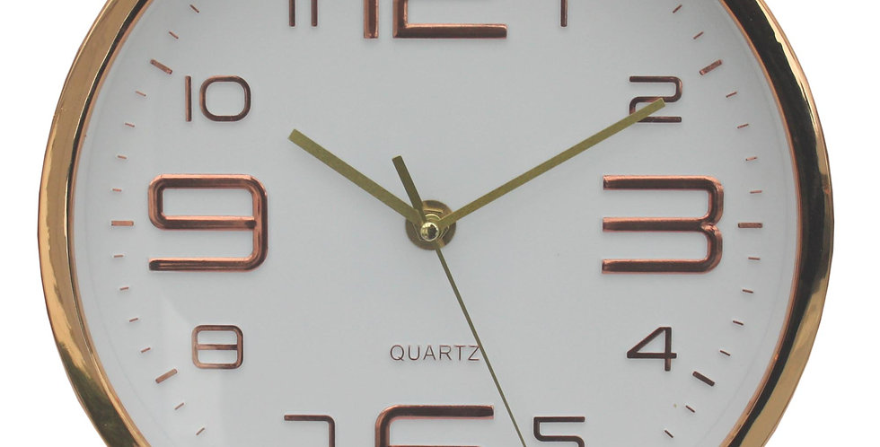 Embossed Copper Clock With White Face