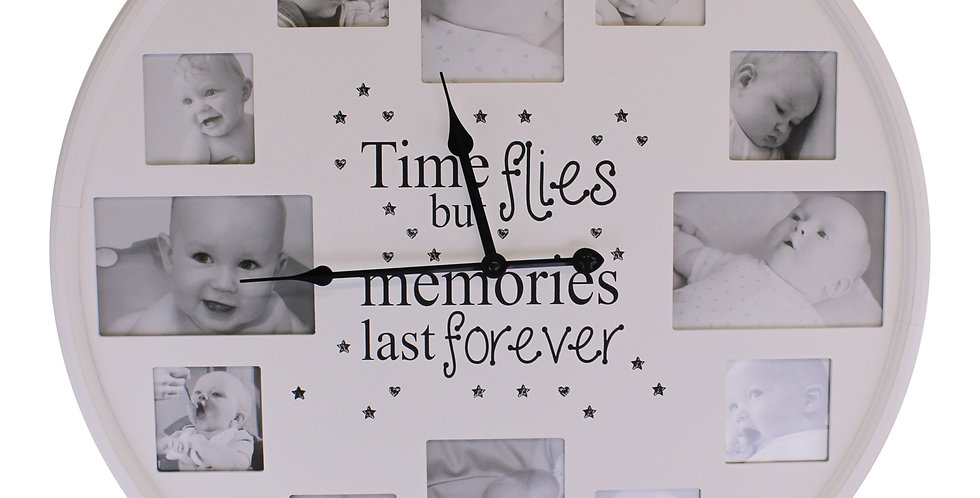 White Circular Baby Photo Frame With Clock