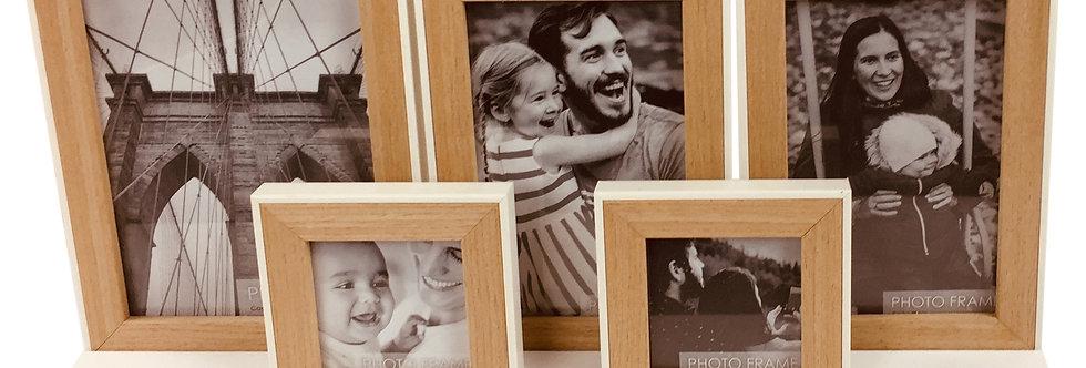 Five Photo Frames on White Tray Base