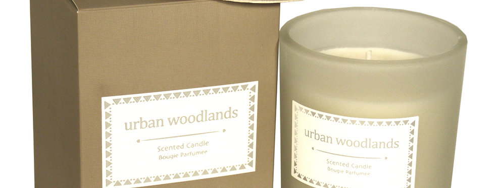 Glass Candle W/Lid In Brown Gift Box - Urban Woodlands