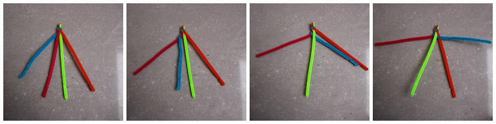 לוקחים את הרצועה השמאלית- הכחולה. מעבירים אותה מעל לרצועה הסמוכה-האדומה, מתחת להבאה- הירוקה, ומעל לאחרונה- הכתומה.