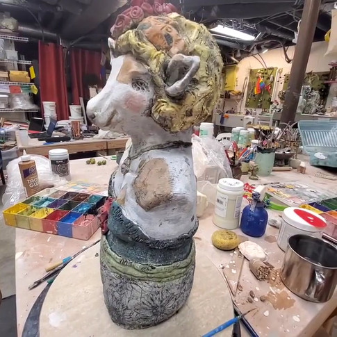 Sweet little Charity is a table top sculpture made with sculptural clay, underglazes, oxides and caustic wax