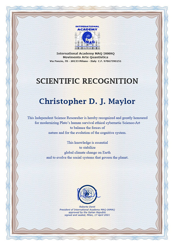 Certificate for Christopher D.J. Maylor.