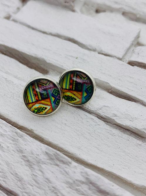 12mm Silver Stud Earrings, Multicolour Aztec