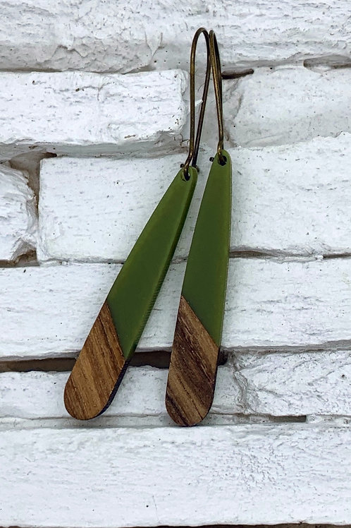 Green Resin & Wood Hanging Earring
