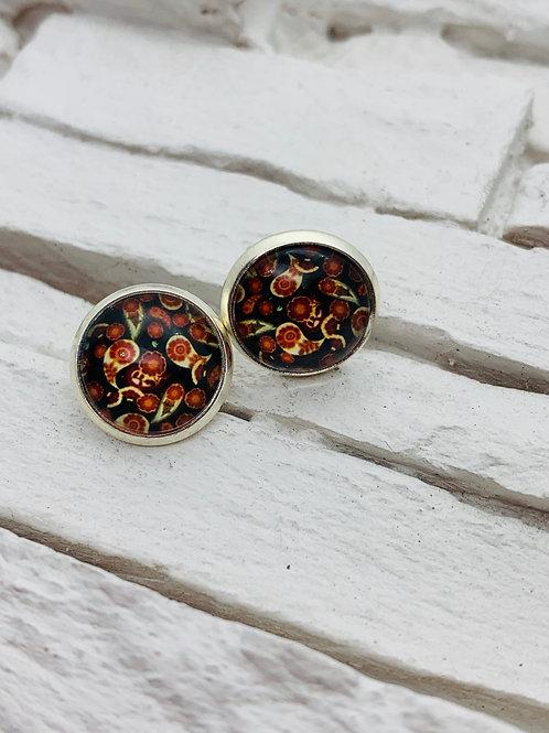 12mm Silver Stud Earrings, Navy/Red, Paisley