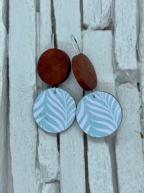 Teal Fern, Saddle Brown, Double Wooden Round Hanging Earring