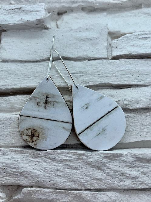 White Wood, Wooden Drop, Hanging Earrings
