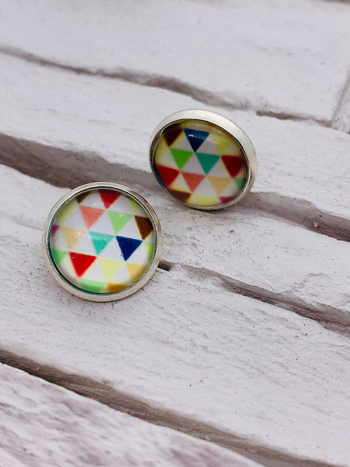 12mm Silver Stud Earrings, Muti-Colour, Triangles