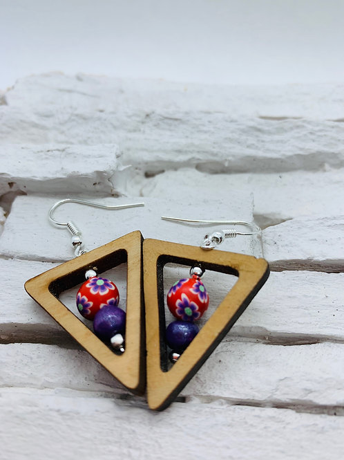 Wooden Triangle, Red & Purple Bead